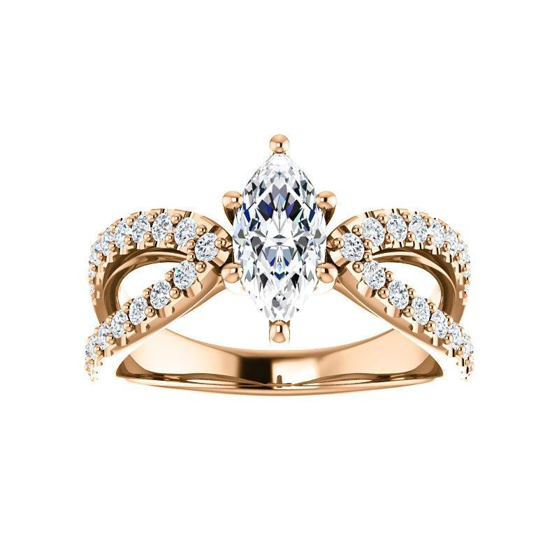 The Tia Moissanite marquise moissanite engagement ring solitaire setting rose gold