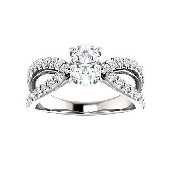 The Tia Moissanite oval moissanite engagement ring solitaire setting white gold