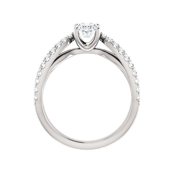 The Tia Moissanite oval moissanite engagement ring solitaire setting white gold side profile