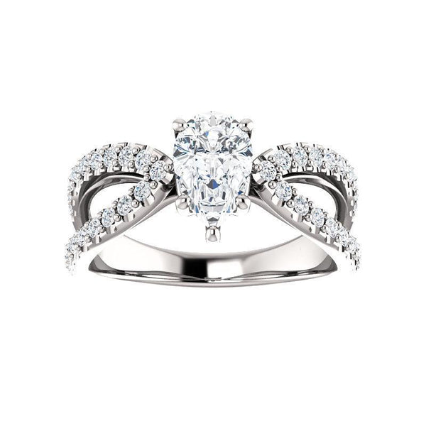 The Tia Moissanite pear moissanite engagement ring solitaire setting white gold