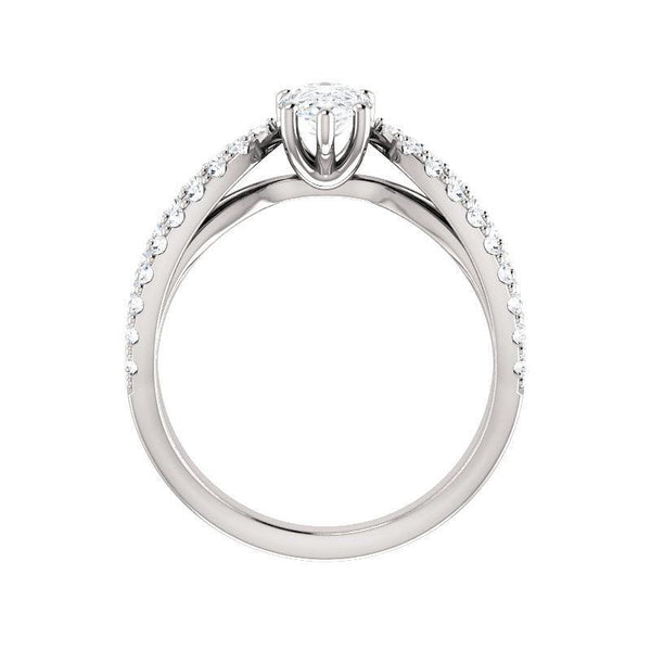 The Tia Moissanite pear moissanite engagement ring solitaire setting white gold side profile