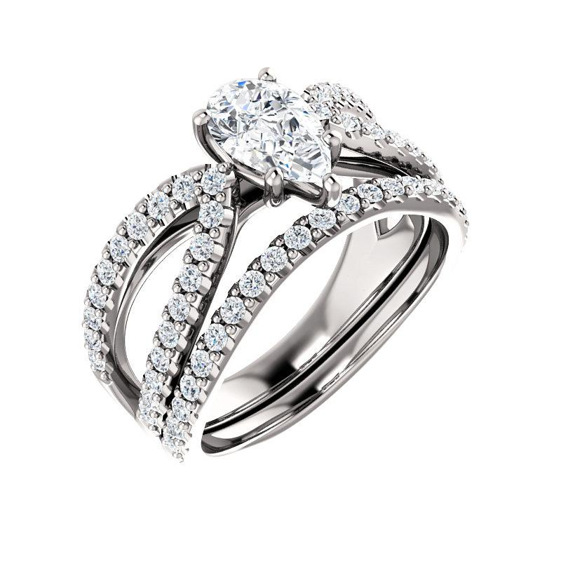 The Tia Moissanite pear moissanite engagement ring solitaire setting white gold with matching band
