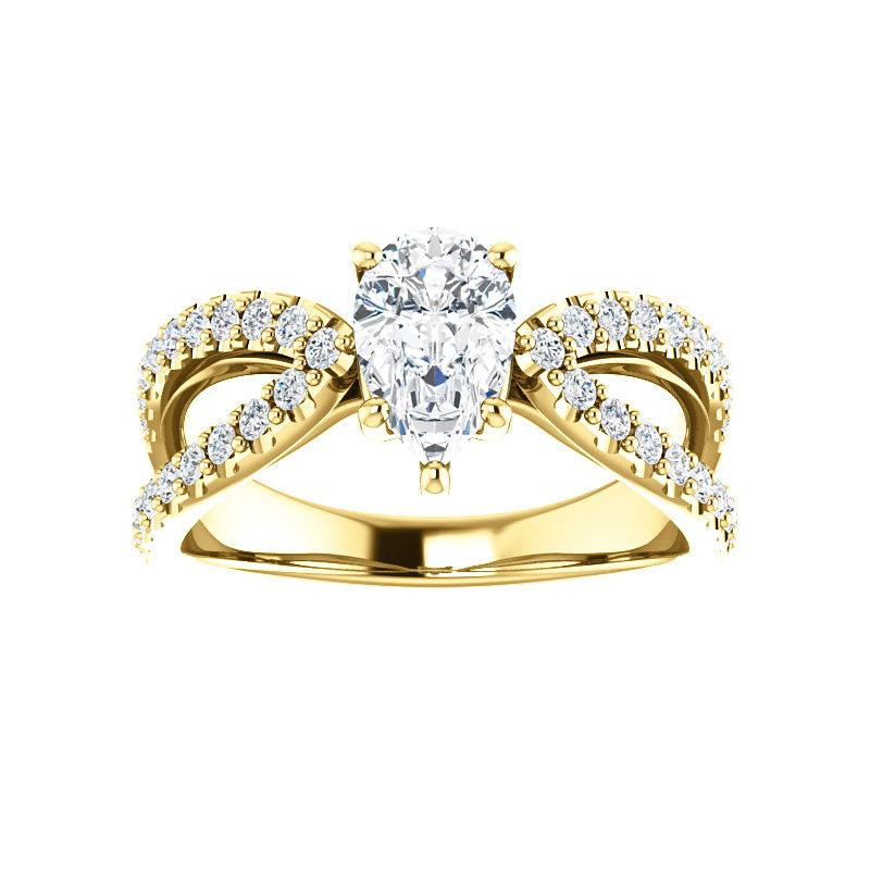 The Tia Moissanite pear moissanite engagement ring solitaire setting yellow gold
