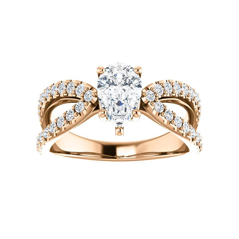 The Tia Moissanite pear moissanite engagement ring solitaire setting rose gold