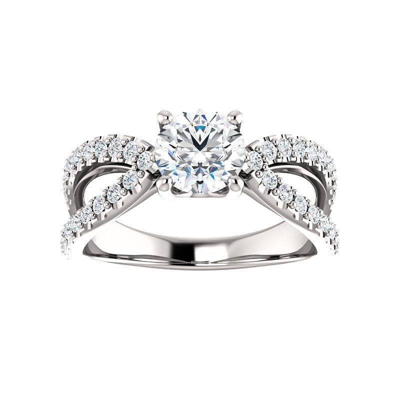 The Tia Moissanite round moissanite engagement ring solitaire setting white gold