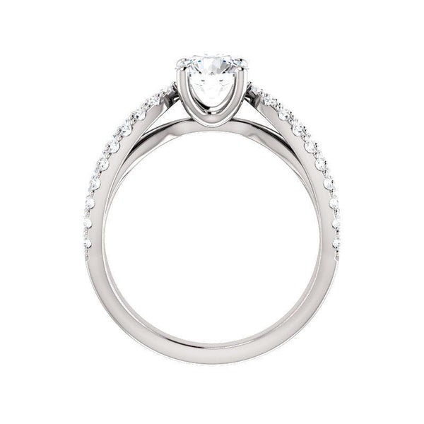 The Tia Moissanite round moissanite engagement ring solitaire setting white gold side profile