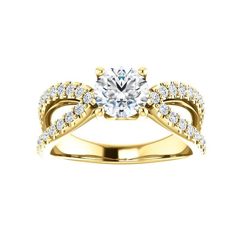 The Tia Moissanite round moissanite engagement ring solitaire setting yellow gold
