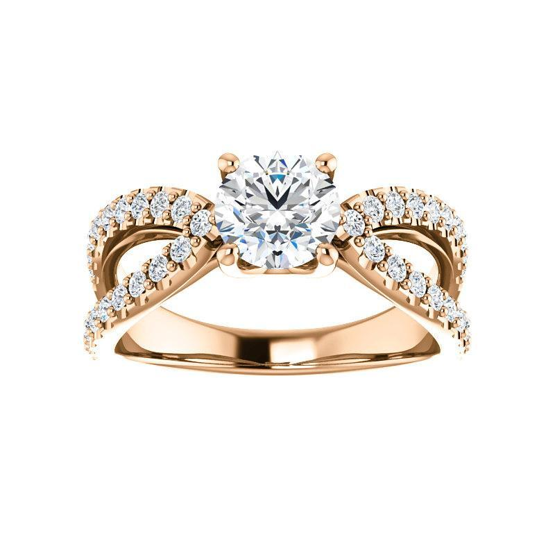The Tia Moissanite round moissanite engagement ring solitaire setting rose gold