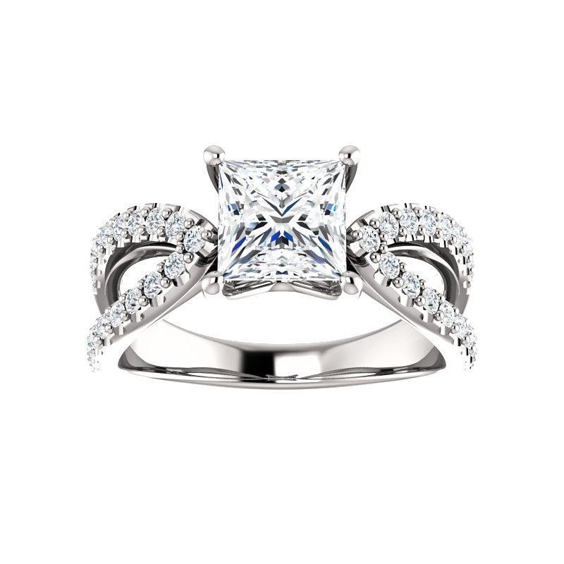 The Tia Moissanite princess moissanite engagement ring solitaire setting white gold