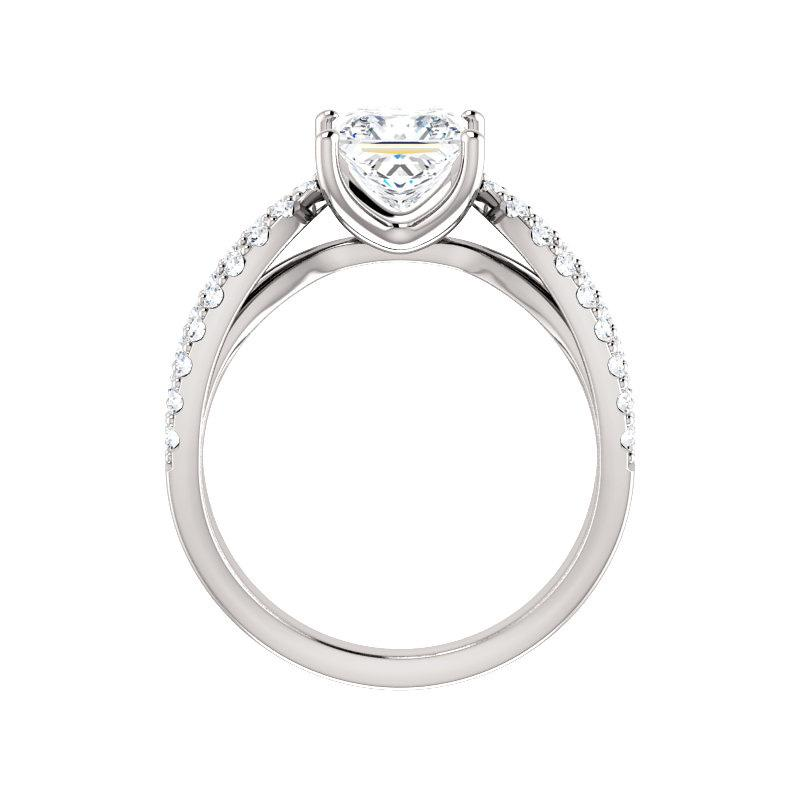 The Tia Moissanite princess moissanite engagement ring solitaire setting white gold side profile