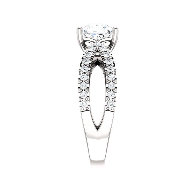 The Tia Moissanite princess moissanite engagement ring solitaire setting white gold band profile