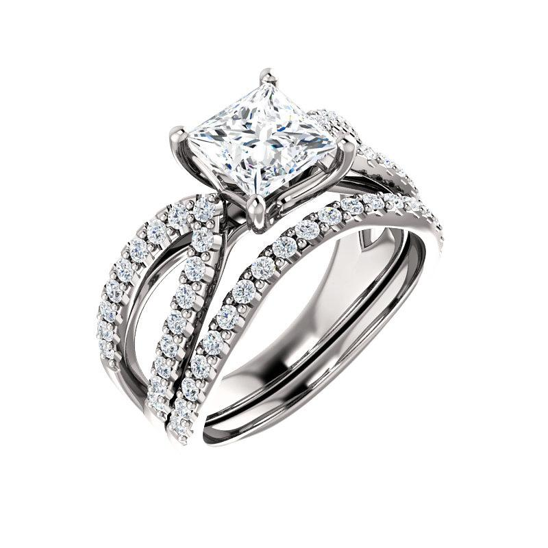 The Tia Moissanite princess moissanite engagement ring solitaire setting white gold with matching band