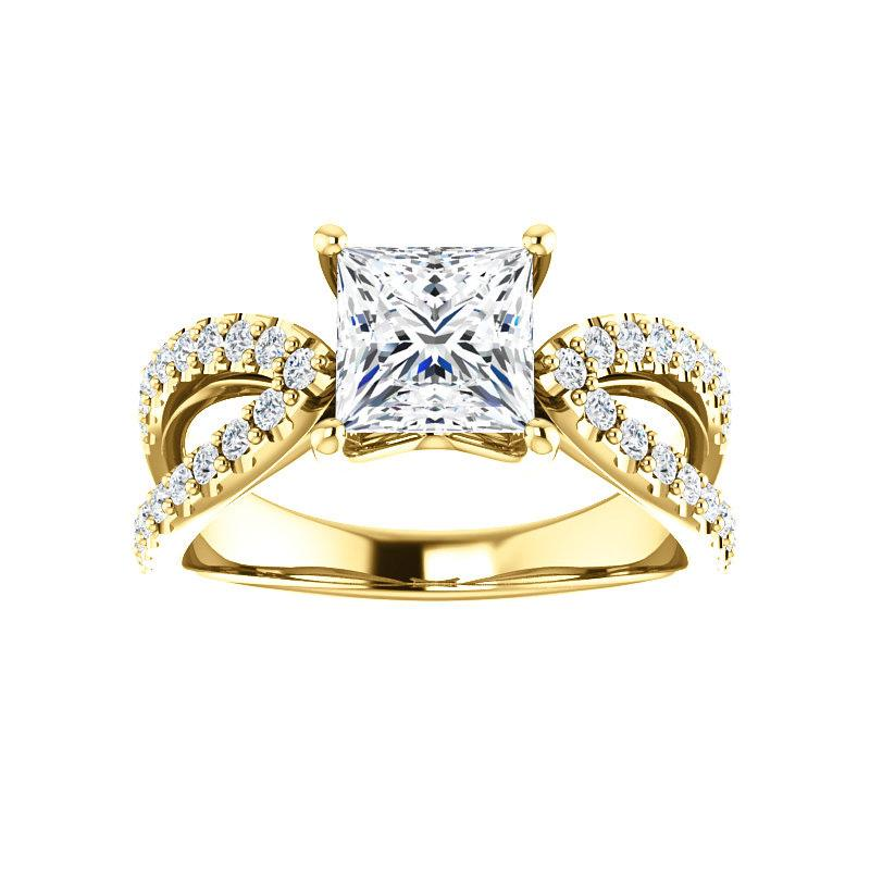 The Tia Moissanite princess moissanite engagement ring solitaire setting yellow gold