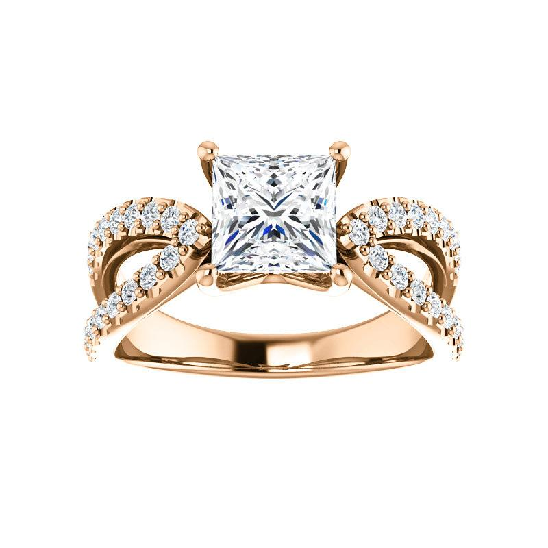 The Tia Moissanite princess moissanite engagement ring solitaire setting rose gold