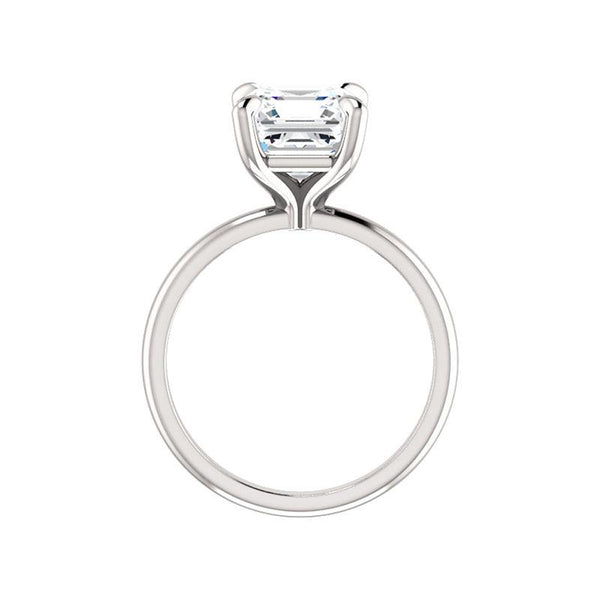 The Julie Asscher Moissanite Engagement Ring Solitaire Setting White Gold Side Profile