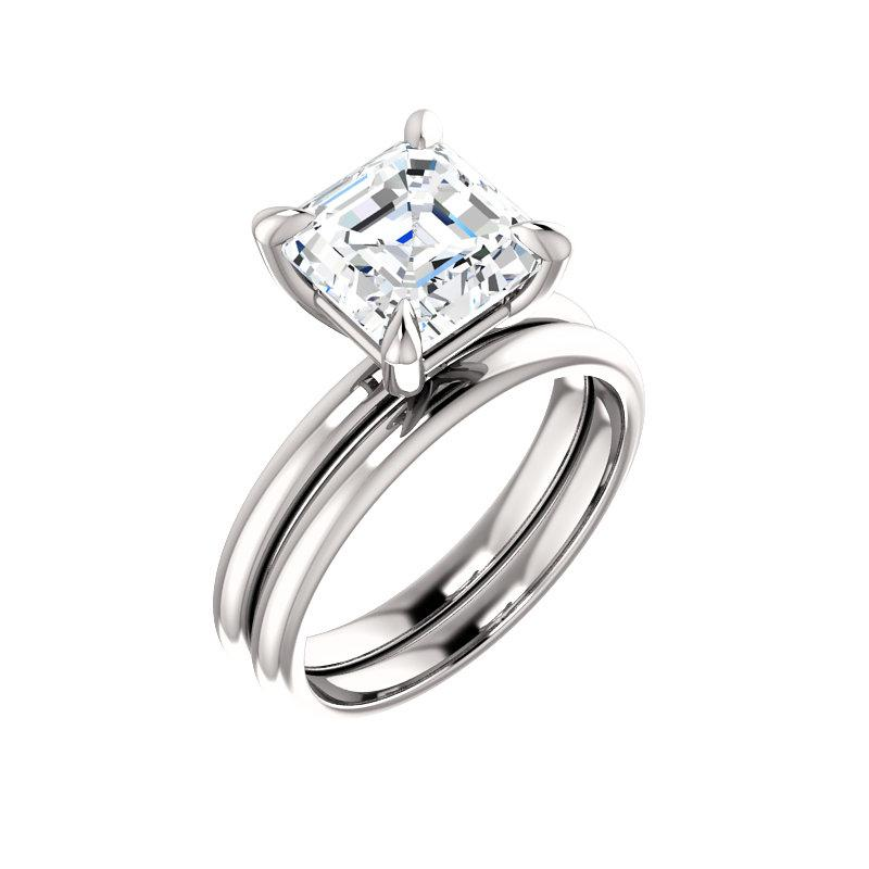 The Julie Asscher Moissanite Engagement Ring Solitaire Setting White Gold With Matching Band