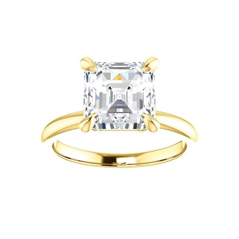 The Julie Asscher Moissanite Engagement Ring Solitaire Setting Yellow Gold