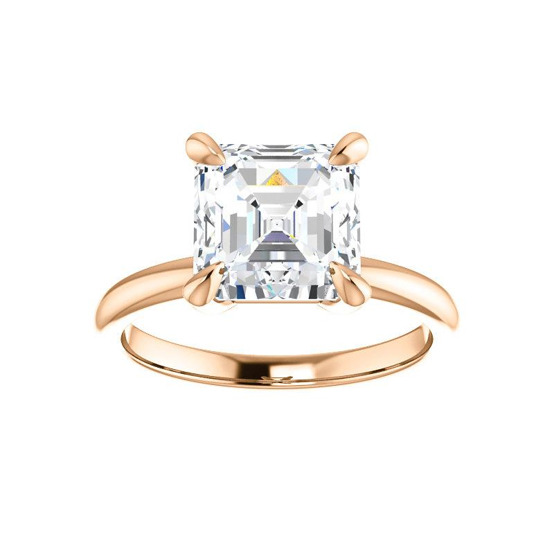 The Julie Asscher Moissanite Engagement Ring Solitaire Setting Rose Gold