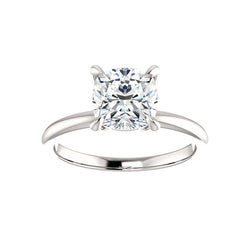The Julie Cushion Moissanite Engagement Ring Solitaire Setting White Gold