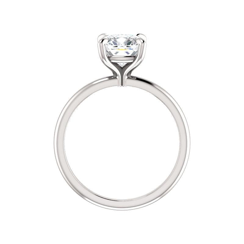The Julie Cushion Moissanite Engagement Ring Solitaire Setting White Gold Side Profile