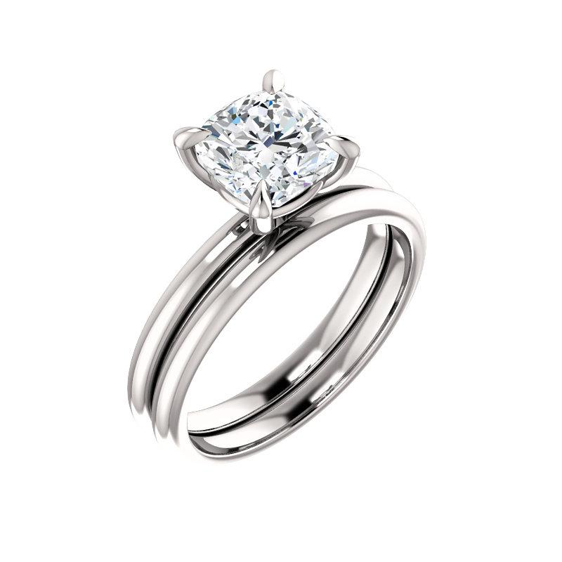 The Julie Cushion Moissanite Engagement Ring Solitaire Setting White Gold With Matching Band