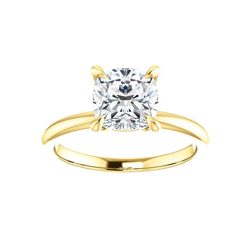 The Julie Cushion Moissanite Engagement Ring Solitaire Setting Yellow Gold
