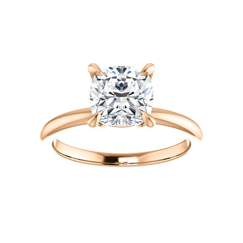 The Julie Cushion Moissanite Engagement Ring Solitaire Setting Rose Gold