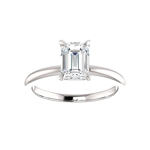 The Julie Emerald Moissanite Engagement Ring Solitaire Setting White Gold
