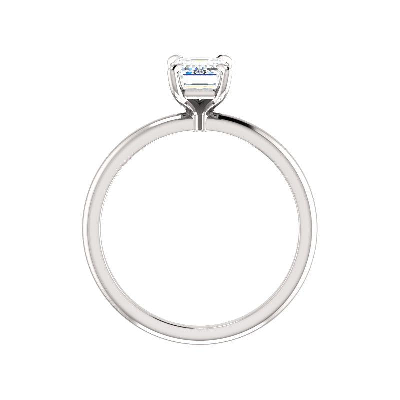 The Julie Emerald Moissanite Engagement Ring Solitaire Setting White Gold Side Profile