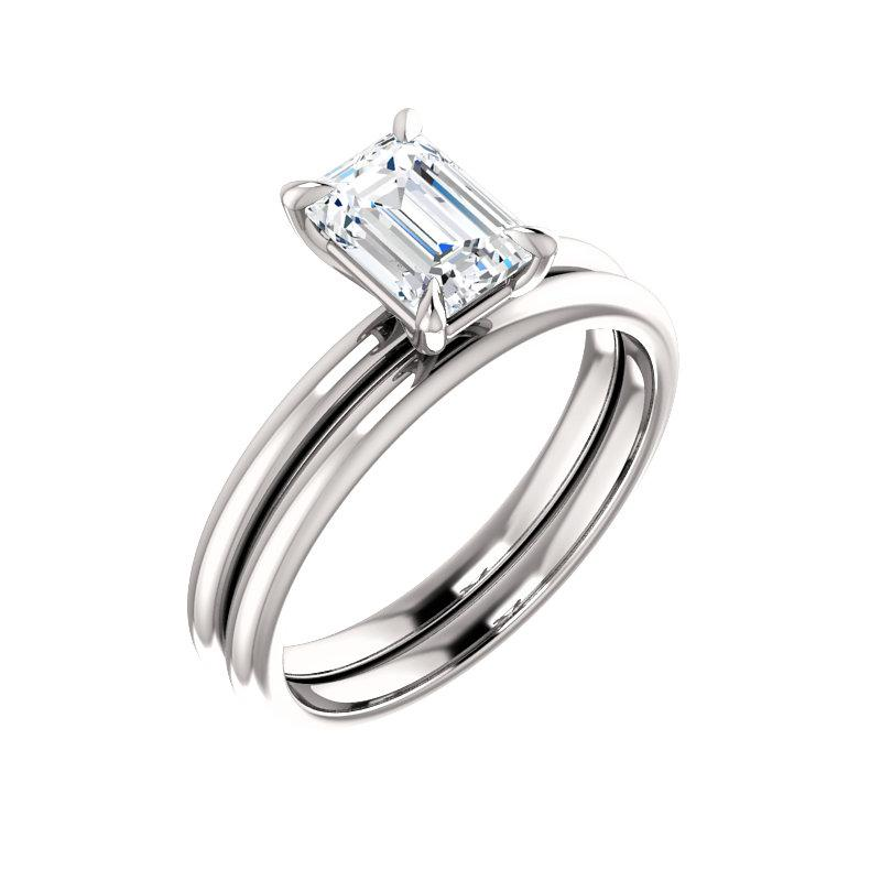 The Julie Emerald Moissanite Engagement Ring Solitaire Setting White Gold With Matching Band