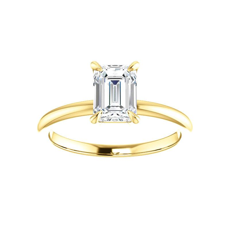The Julie Emerald Moissanite Engagement Ring Solitaire Setting Yellow Gold