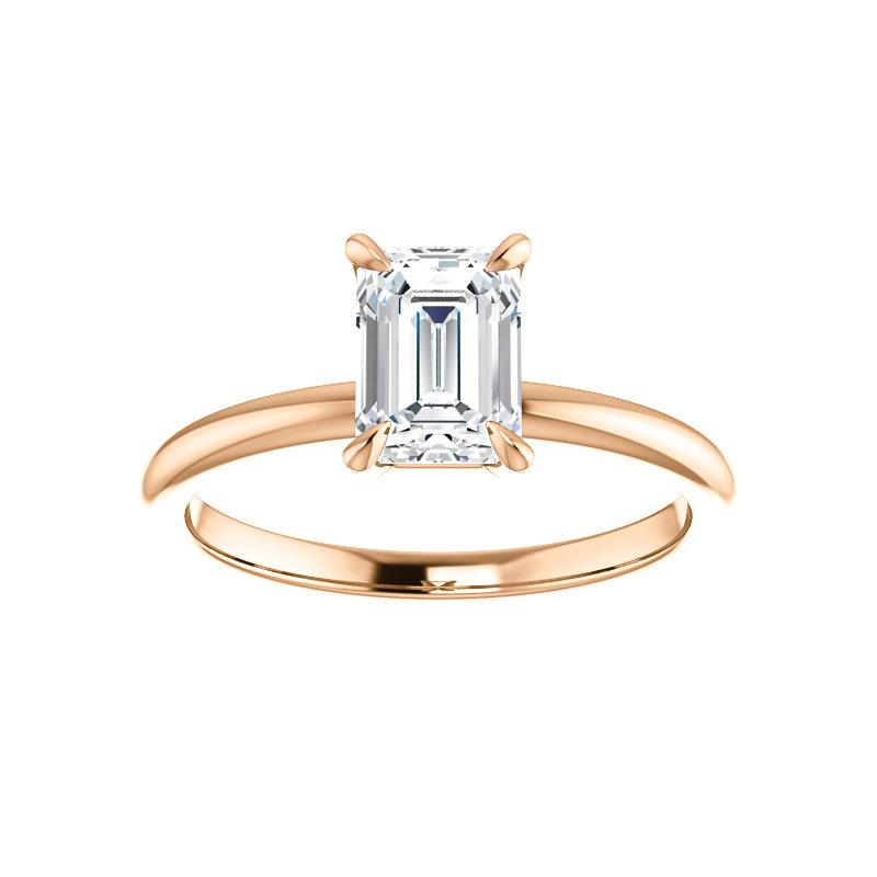 The Julie Emerald Moissanite Engagement Ring Solitaire Setting Rose Gold
