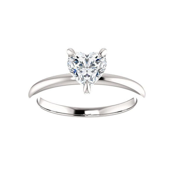 The Julie Heart Moissanite Engagement Ring Solitaire Setting White Gold