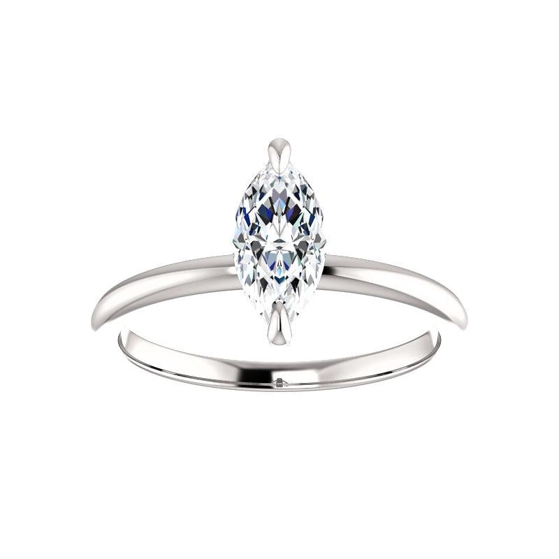 The Julie Marquise Moissanite Engagement Ring Solitaire Setting White Gold
