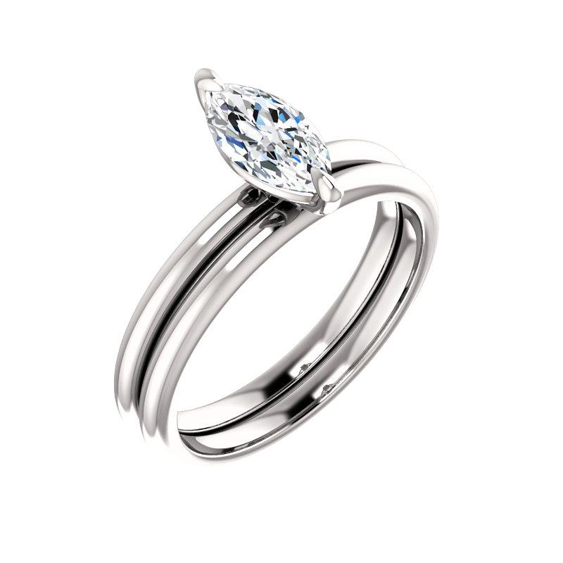 The Julie Marquise Moissanite Engagement Ring Solitaire Setting White Gold With Matching Band