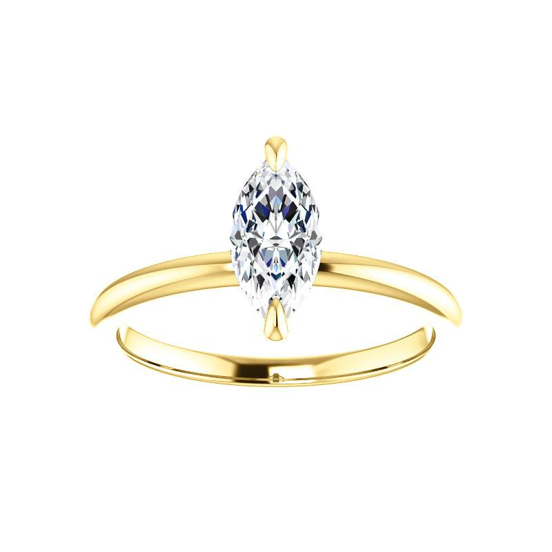 The Julie Marquise Moissanite Engagement Ring Solitaire Setting Yellow Gold