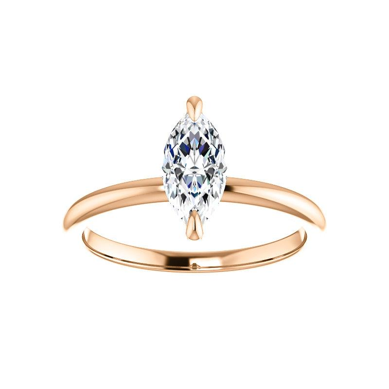 The Julie Marquise Moissanite Engagement Ring Solitaire Setting Rose Gold