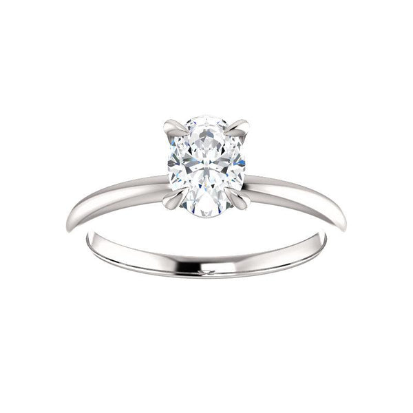The Julie Oval Moissanite Engagement Ring Solitaire Setting White Gold