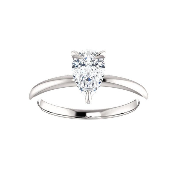 The Julie Pear Moissanite Engagement Ring Solitaire Setting White Gold