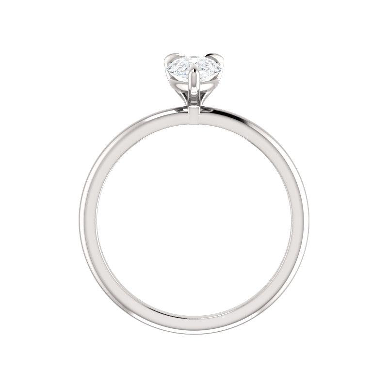 The Julie Pear Moissanite Engagement Ring Solitaire Setting White Gold Side Profile