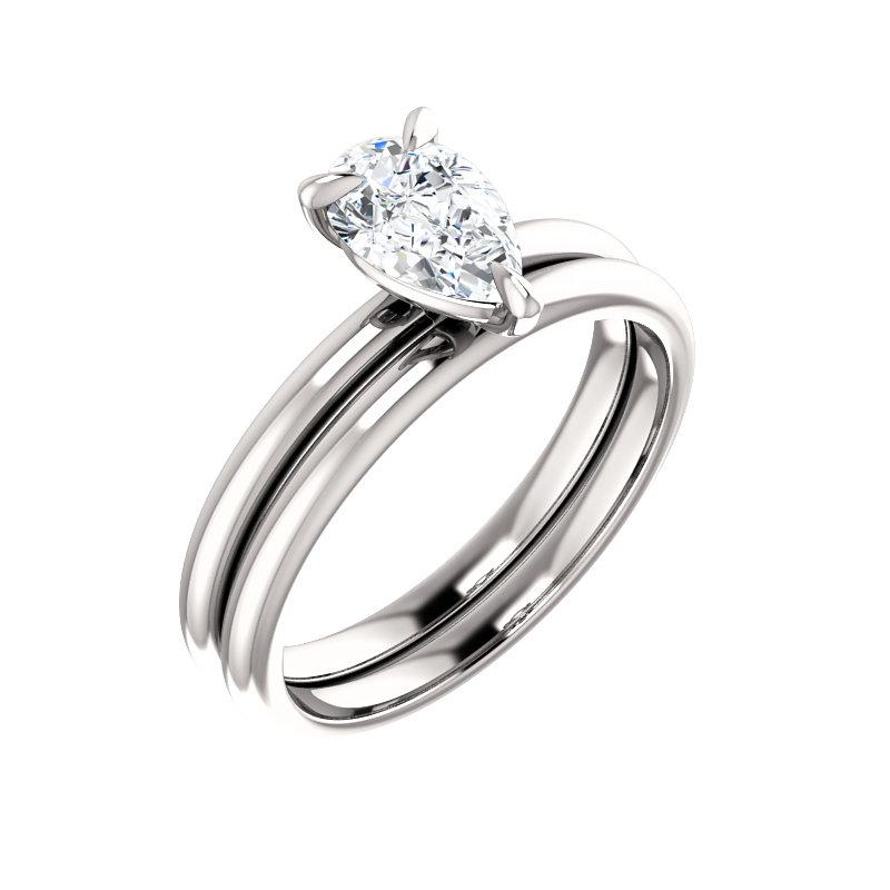 The Julie Pear Moissanite Engagement Ring Solitaire Setting White Gold With Matching Band