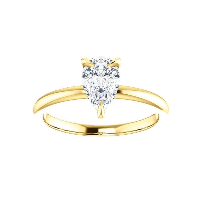 The Julie Pear Moissanite Engagement Ring Solitaire Setting Yellow Gold