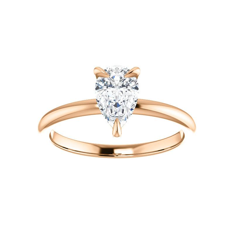 The Julie Pear Moissanite Engagement Ring Solitaire Setting Rose Gold