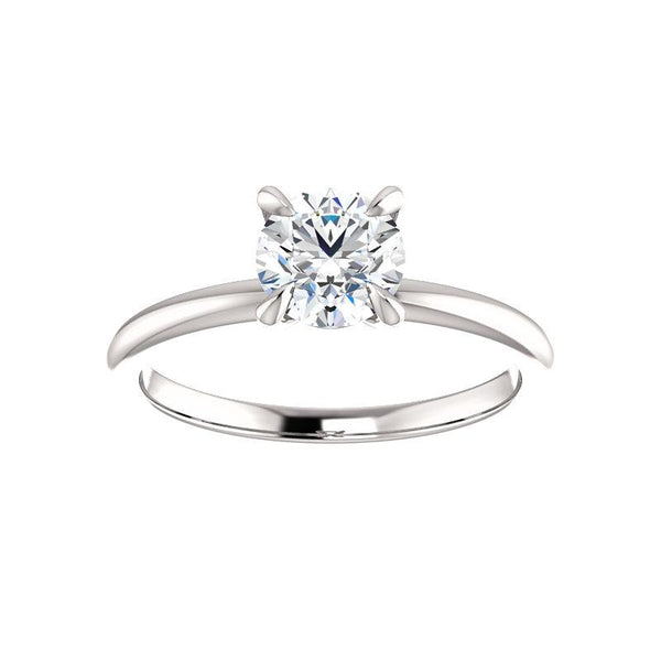 The Julie Round Moissanite Engagement Ring Solitaire Setting White Gold