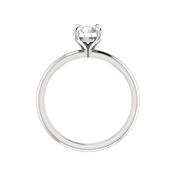 The Julie Round Moissanite Engagement Ring Solitaire Setting White Gold Side Profile