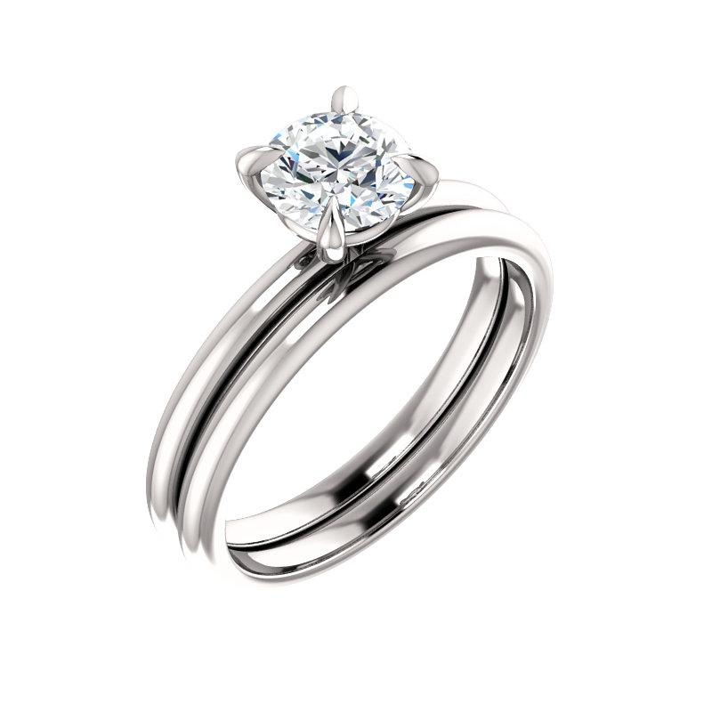 The Julie Round Moissanite Engagement Ring Solitaire Setting White Gold With Matching Band