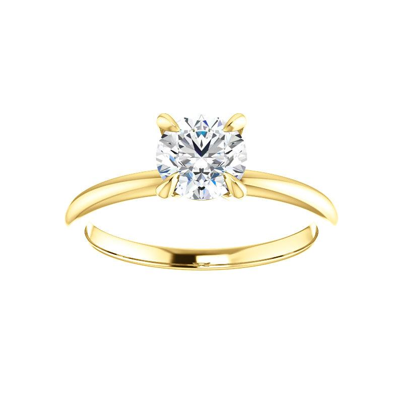 The Julie Round Moissanite Engagement Ring Solitaire Setting Yellow Gold
