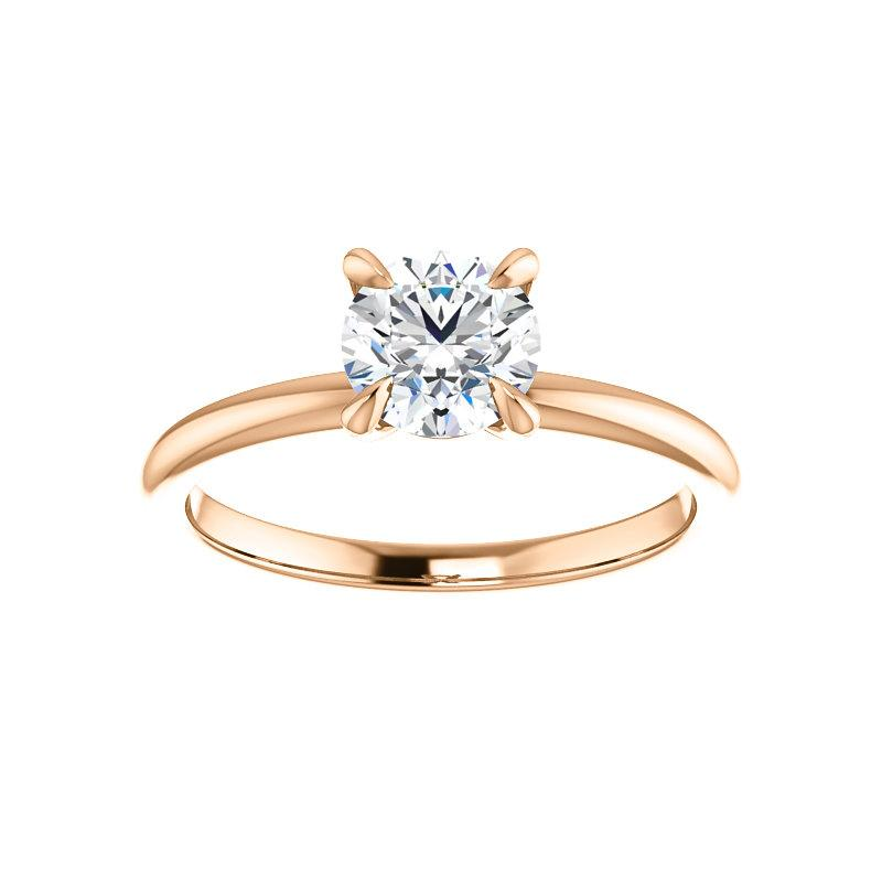 The Julie Round Moissanite Engagement Ring Solitaire Setting Rose Gold