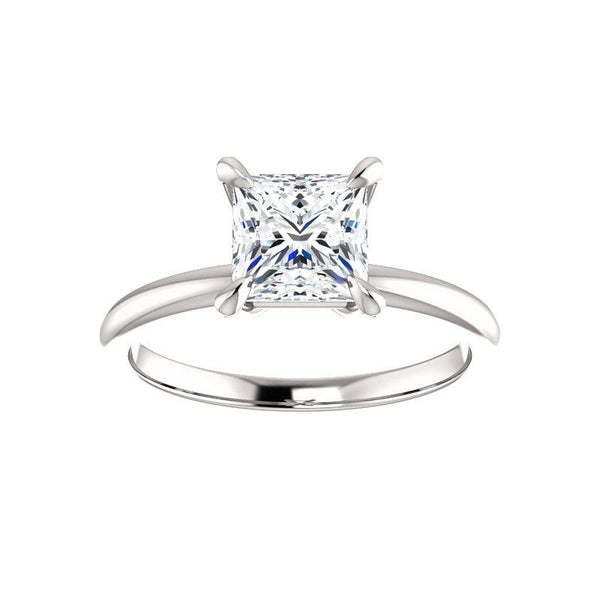 The Julie Princess Moissanite Engagement Ring Solitaire Setting White Gold