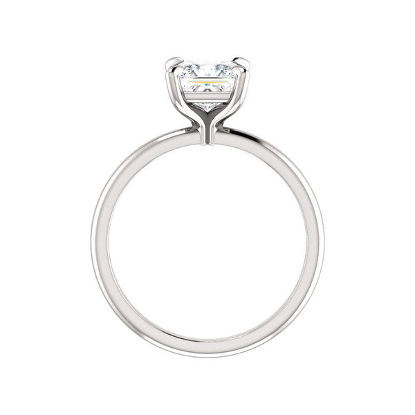The Julie Princess Moissanite Engagement Ring Solitaire Setting White Gold Side Profile